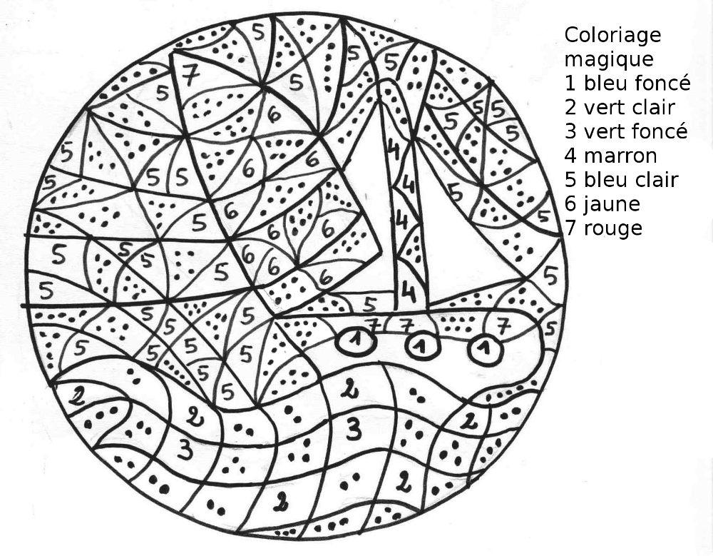 Maternelle coloriage magique maternelle un voilier - Coloriage petit bateau imprimer ...