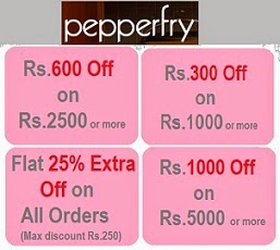 Pepperfry New Coupon: Rs.300 Off on Rs.1000 | Rs.600 Off on Rs.2500 | Extra 25% Off on All Orders | Rs.1000 Off on Rs.5000 (Valid till 31st Jan'15)