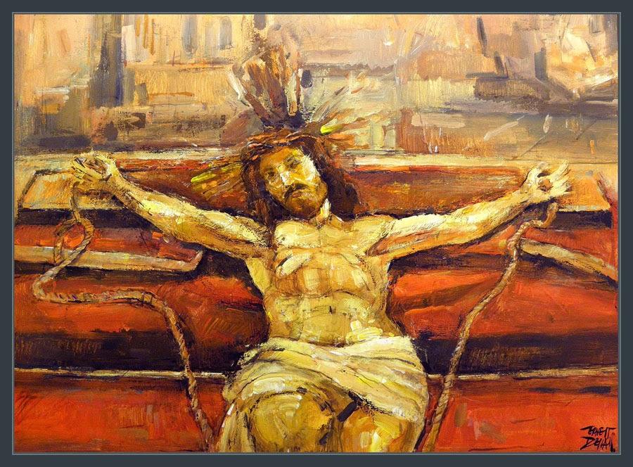 JESUCRISTO-CRUZ-PASION-ARTE-PINTURA-SEMANA SANTA-CUADROS-RELIGIOSOS-PINTOR-ERNEST DESCALS-