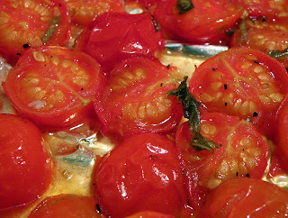 Closeup View of Balsamic Roasted Cherry Tomatoes