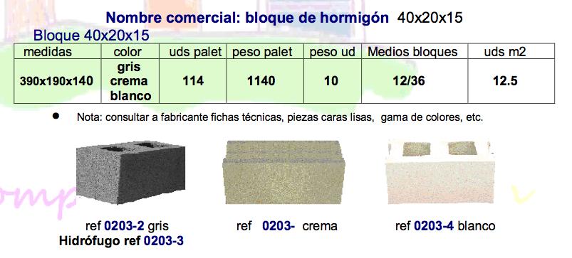 Bloque de hormigón 40x20x15