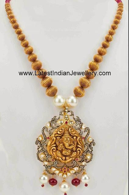 Gold Beads Ganesh Haram