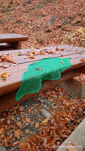 szydelkowa serewta, szydełkowy liść