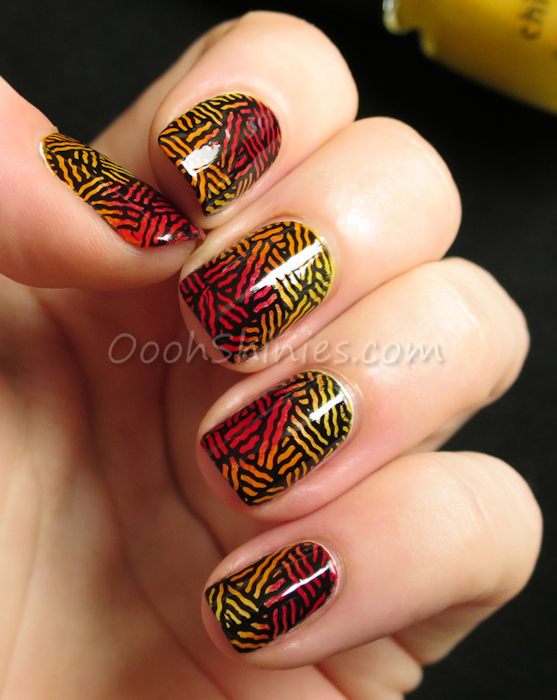 Essence Enter Wonderland with China Glaze Sunshine Pop, Papaya Punch and Ruby Deer, stamped with Konad Black and UberChic Beauty UC Out Of Africa -01