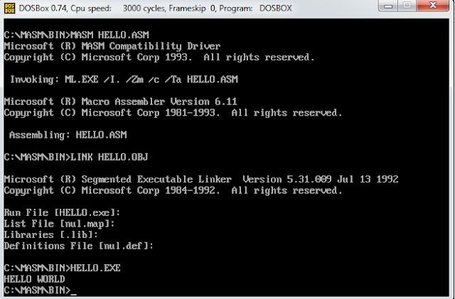 Assembly Level Program to Print Hello World String