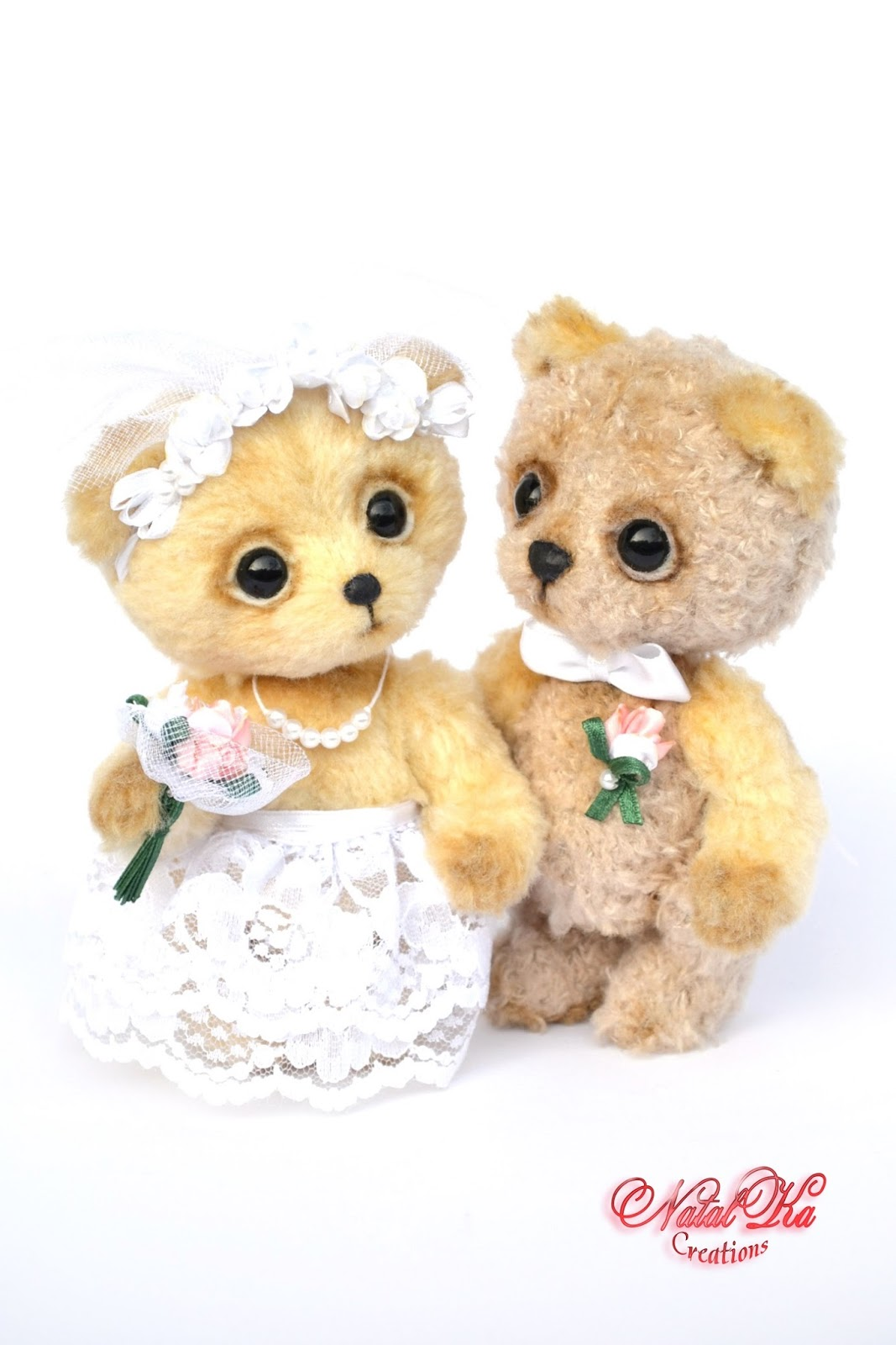 Artist teddy bear, artist bears, teddies, wedding, teddy bear, ooak, artist bear jointed, handmade by NatalKa Creations. Künstlerbär, Künstlerteddy, Teddybär, Teddys, Brautpaar, Unikat, handgemacht von NatalKa Creations