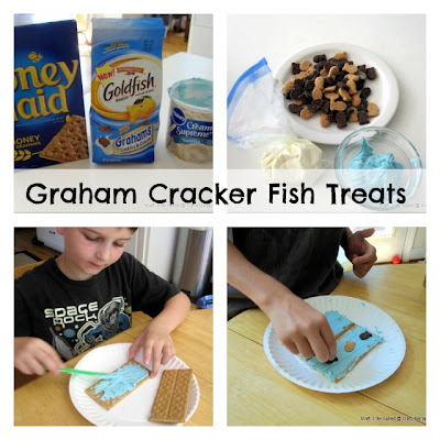 collage of photos showing fun snack with graham crackers and icing