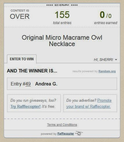 Screenshot of winner in rafflecopter