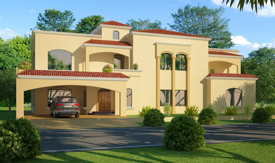 3d front 1 kanal 2 kanal house in lahore for Home designs pakistani