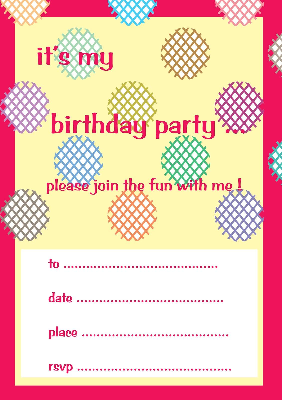 sample of birthday invitation card