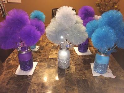 centro de mesa para festa Frozen
