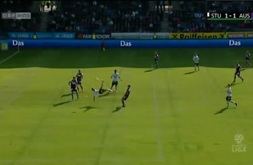 Sturm Graz player Darko Bodul scores with an overhead kick against Austria Vienna
