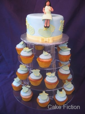Pregnant Mom Baby Shower Cupcake Display