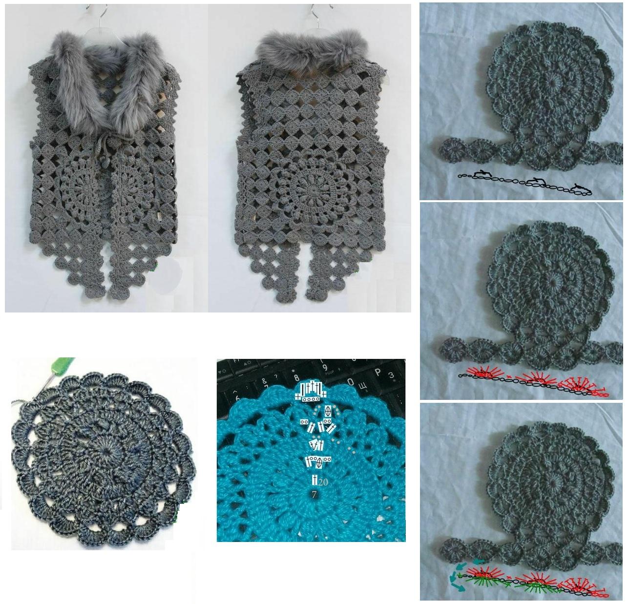 Chaleco circulos crochet - Imagui