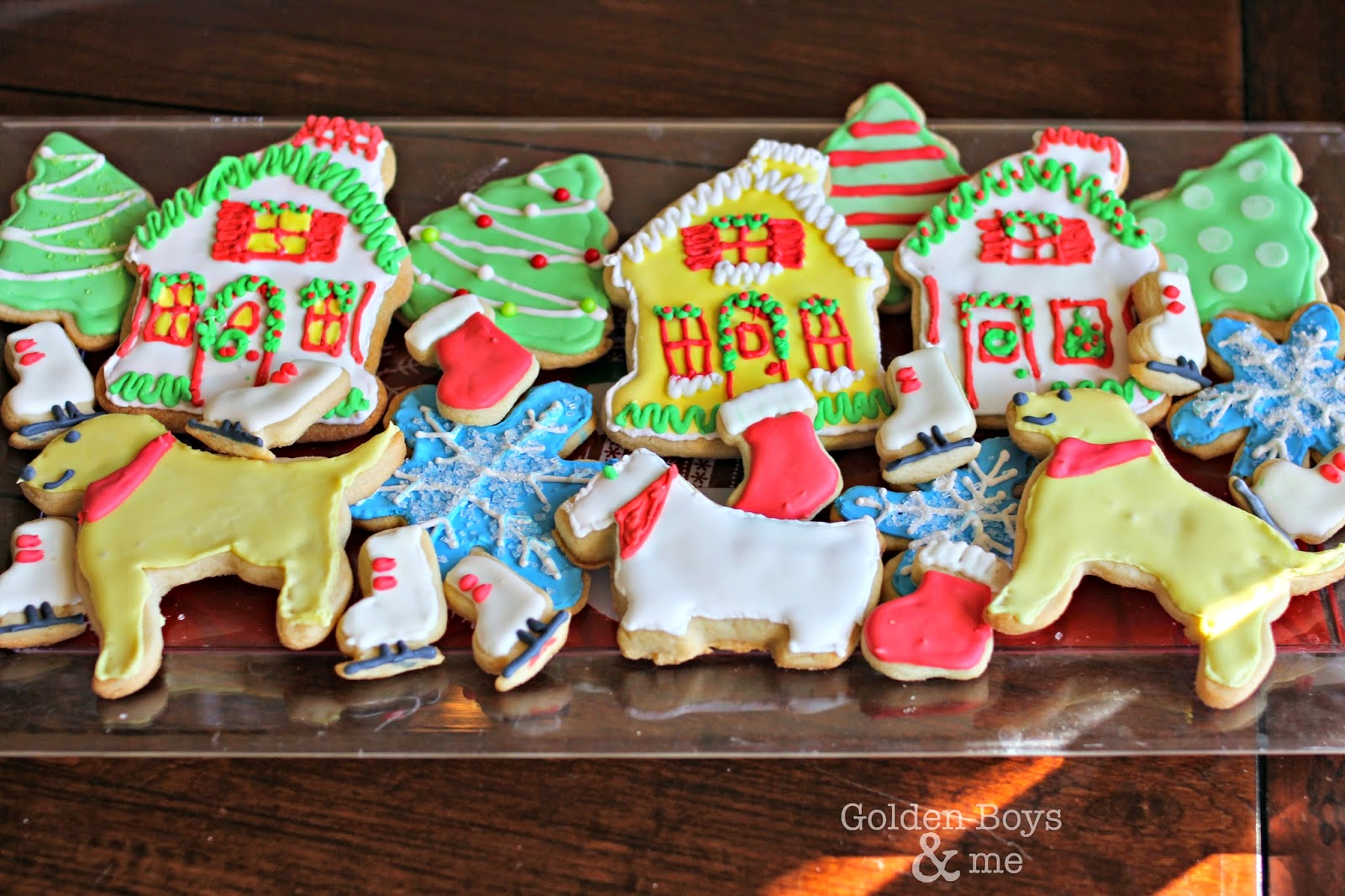 Cut out sugar cookies with royal icing-www.goldenboysandme.com