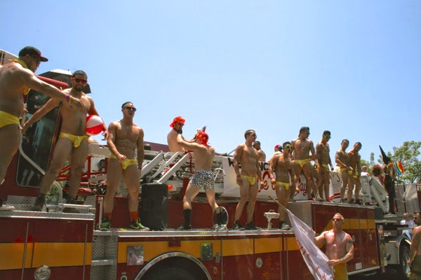 Micky's firetruck go-go boys West Hollywood Pride Parade 2014