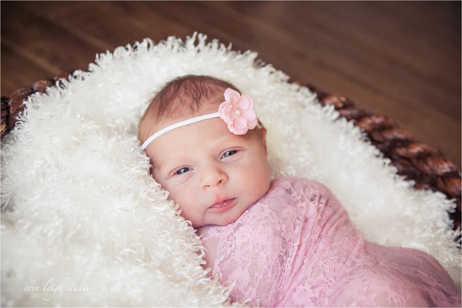 Newborn photos with baby in a basket