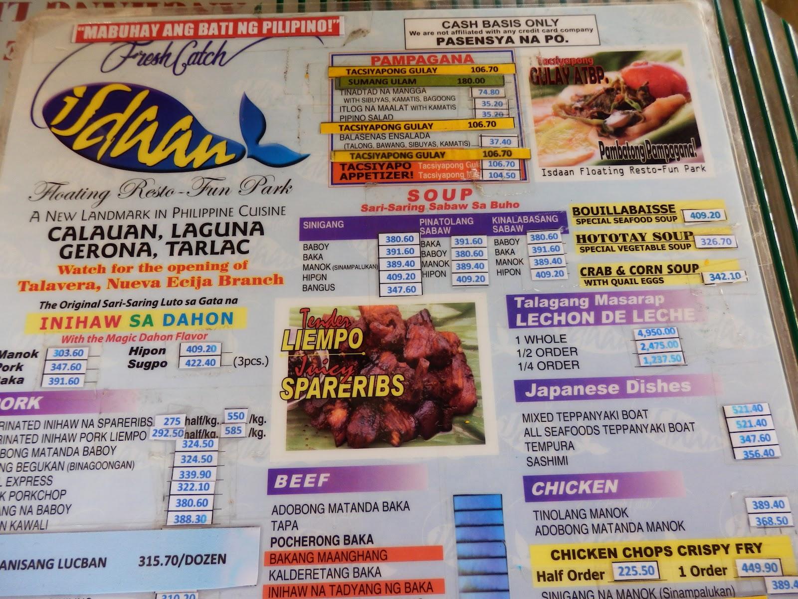 Isdaan Floating Restaurant Food Prices