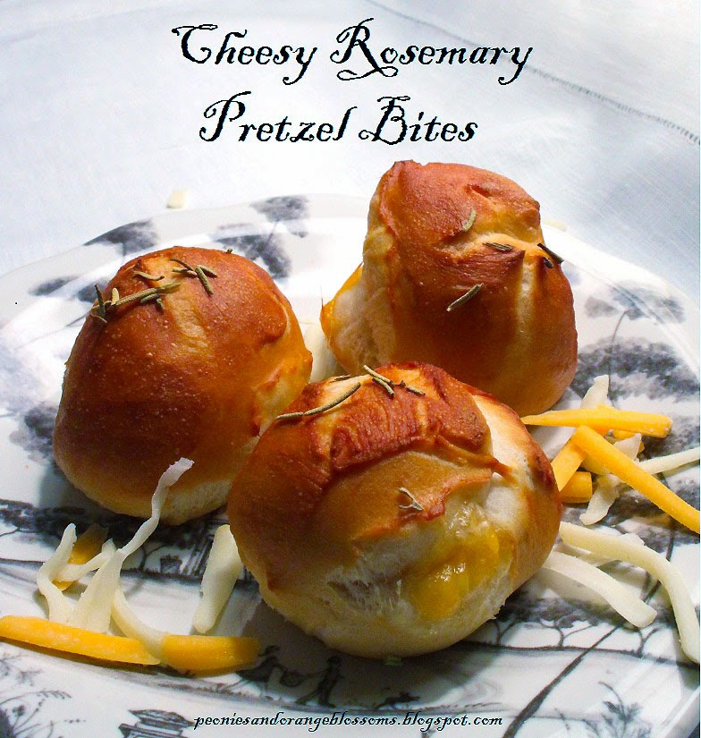 Peonies and Orange Blossoms: Cheesy Rosemary Pretzel Bites