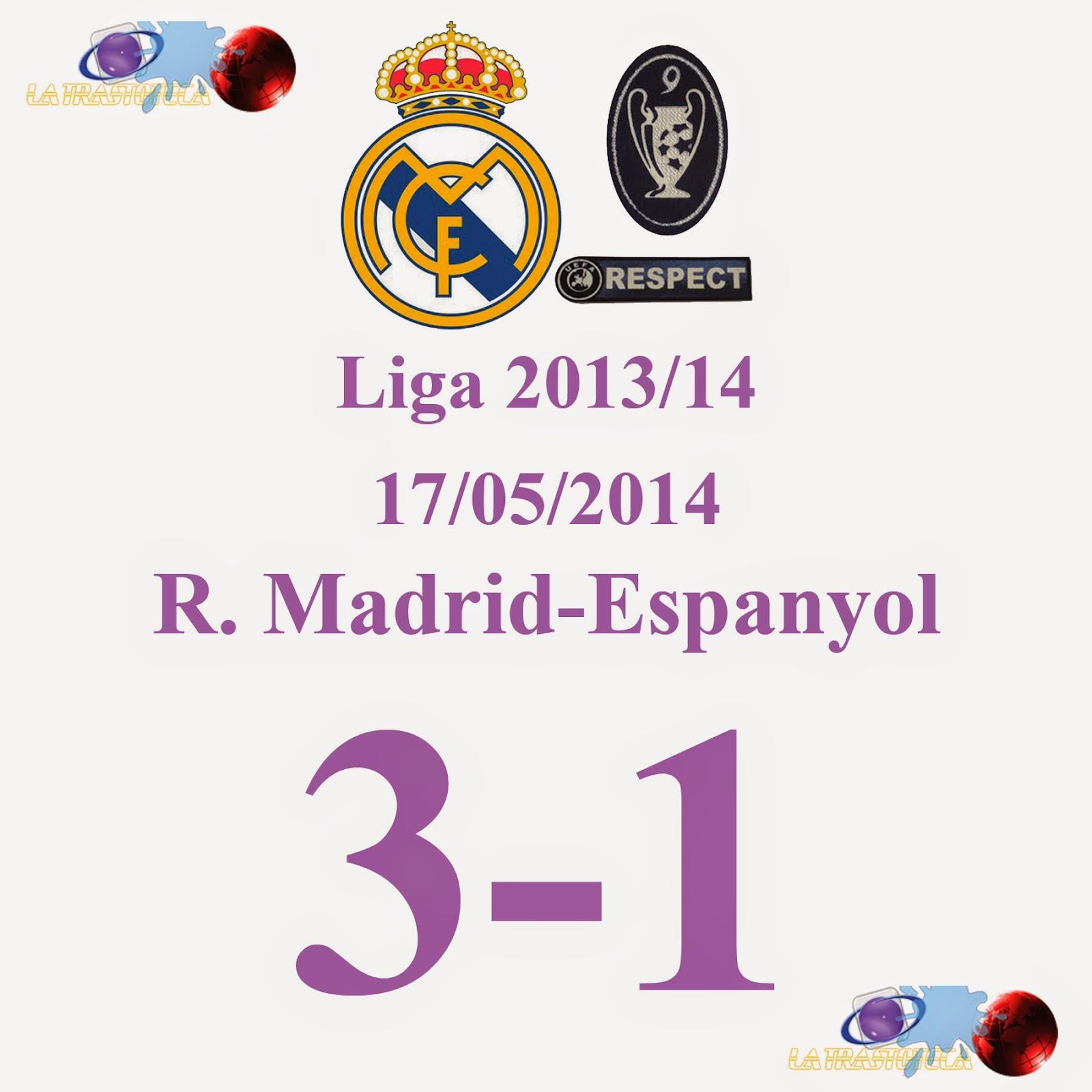 Real Madrid 3 - 1 Espanyol (Jornada 38) 17/05/2014 Cristiano Ronaldo consigue el Balón de Oro