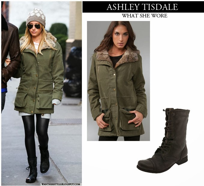 WHAT SHE WORE: Ashley Tisdale in green parka jacket with fur ...