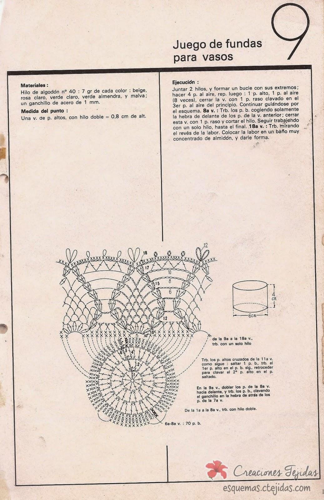Juego de Fundas para Vasos a Crochet