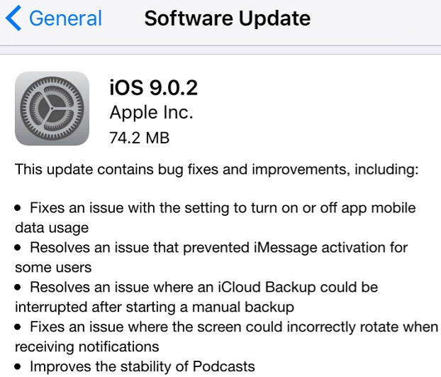 iOS 9.0.2 Features and Changelog