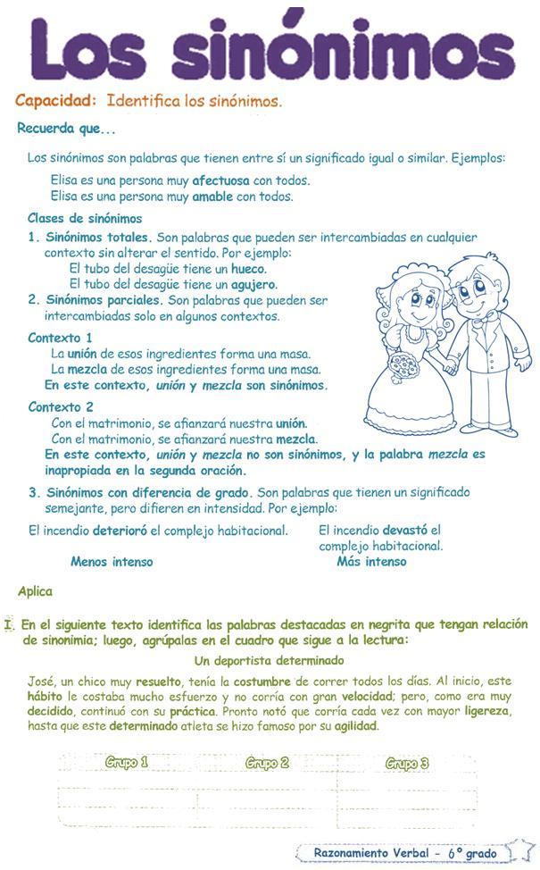 Sinónimos para Niños 6º primaria | Razonamiento Verbal - photo#12