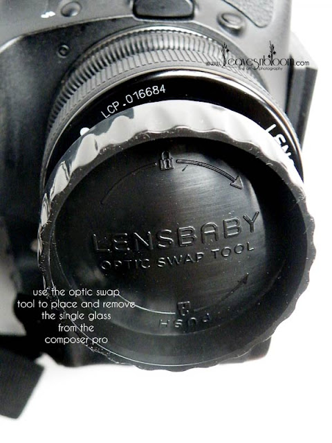 using the lensbaby optic swap tool to insert and remove the optics