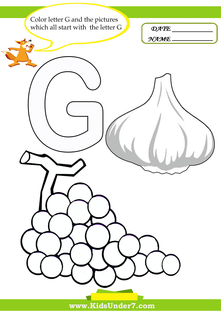 Kids Under 7 Letter G Worksheets and Coloring Pages – G Worksheets for Kindergarten