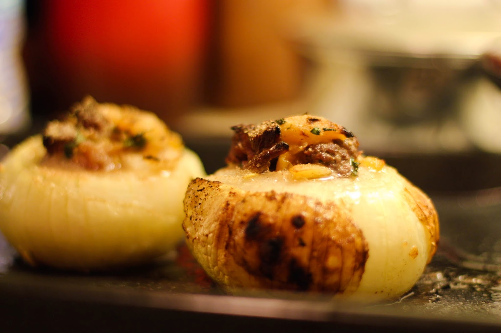... Weekend's Cooked: Roasted Sweet Onions Stuffed with Lamb and Apricots