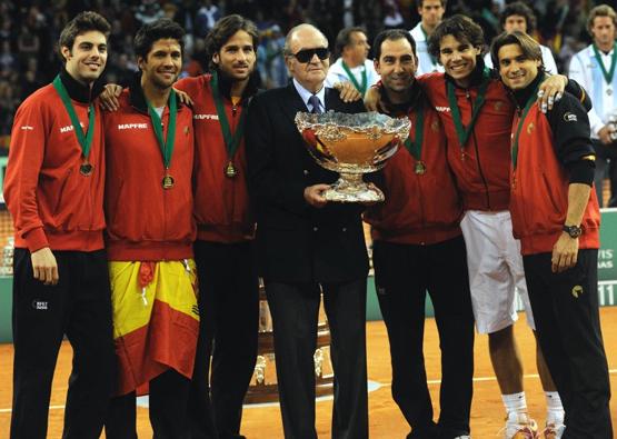 Copa Davis 2011 con el rey Juan Carlos y jugadores españoles