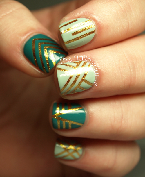 Nail Art Using Striping Tape: Confessing My Love - The Nailasaurus