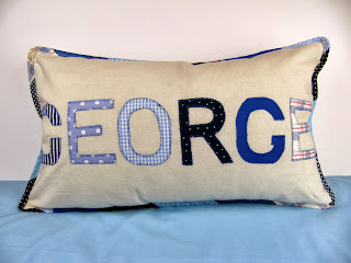 George name pillow in blue by ByElsieB