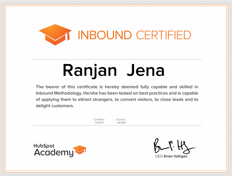 Ranjan Jena - Hubspot Inbound Marketing Certified