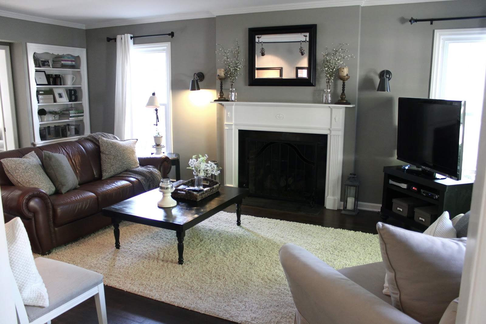 Gray Walls with Brown Couches Living Room