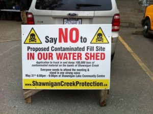 Shawnigan Lake Protest Sign