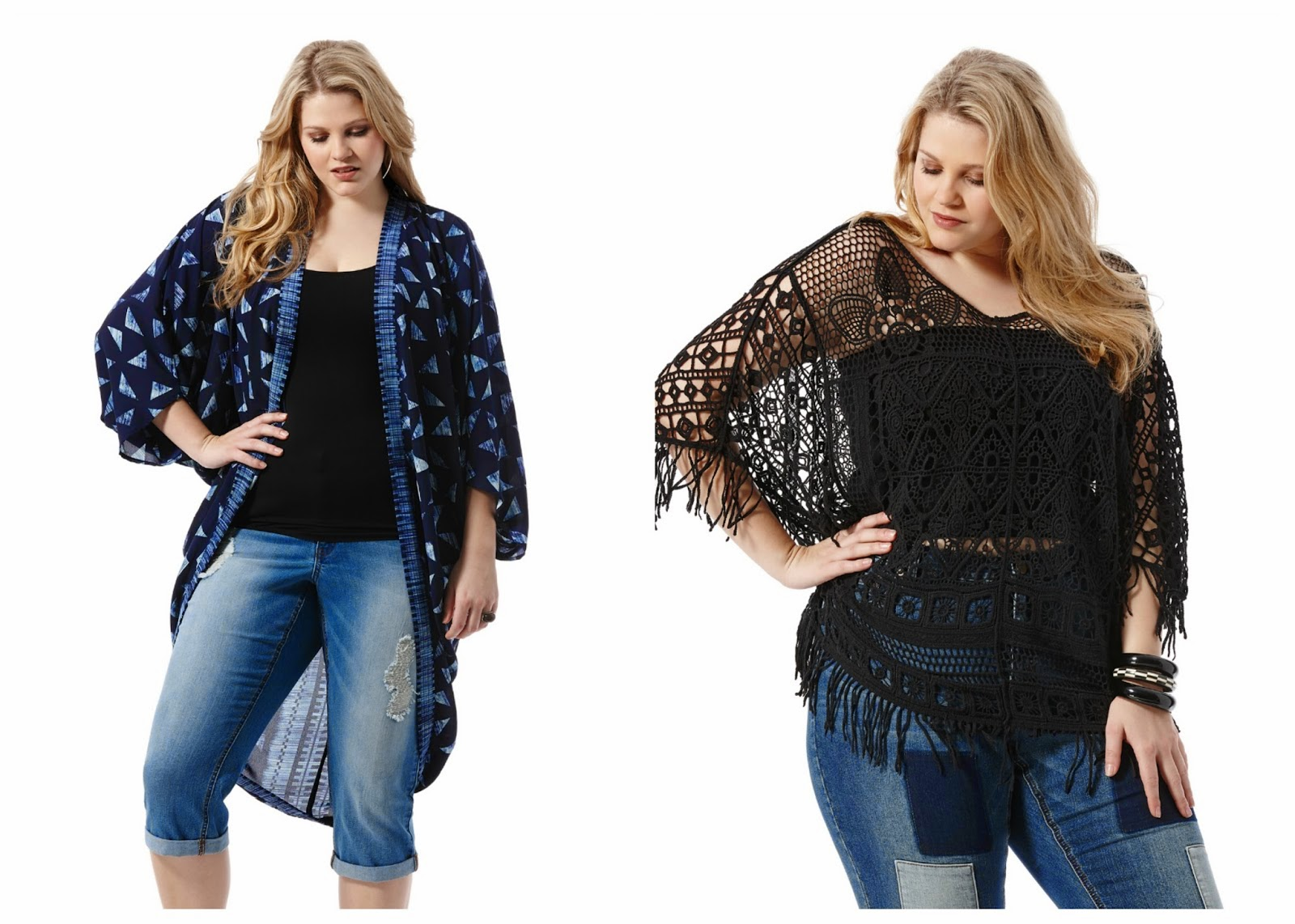 kimonos, crochet, poncho, boho, jeans, plus size fashion, dillards