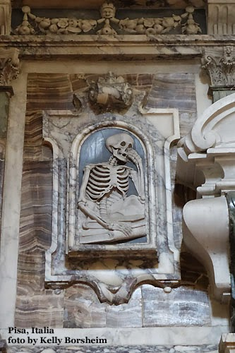 Pisa, Italy, macabre, church, skeletons