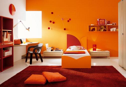 Emejing Chambre Peinture Orange Fonce Gallery - Seiunkel.us ...