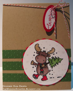 Kraft handmade Christmas card using Tree Carrying Riley stamp