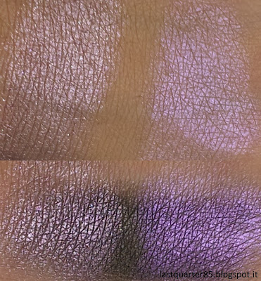 A sinistra Pigment Loose Eyeshadow di Kiko in 04 Lilla, a destra Baby Doll di Neve Cosmetics (sopra su base neutra, sotto su base scura).