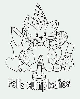 Hermosa Hola Gatito Feliz Cumpleaños Para Colorear Embellecimiento ...