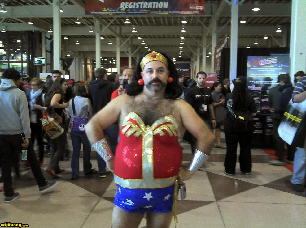 Funny Wonder Woman With A Beared