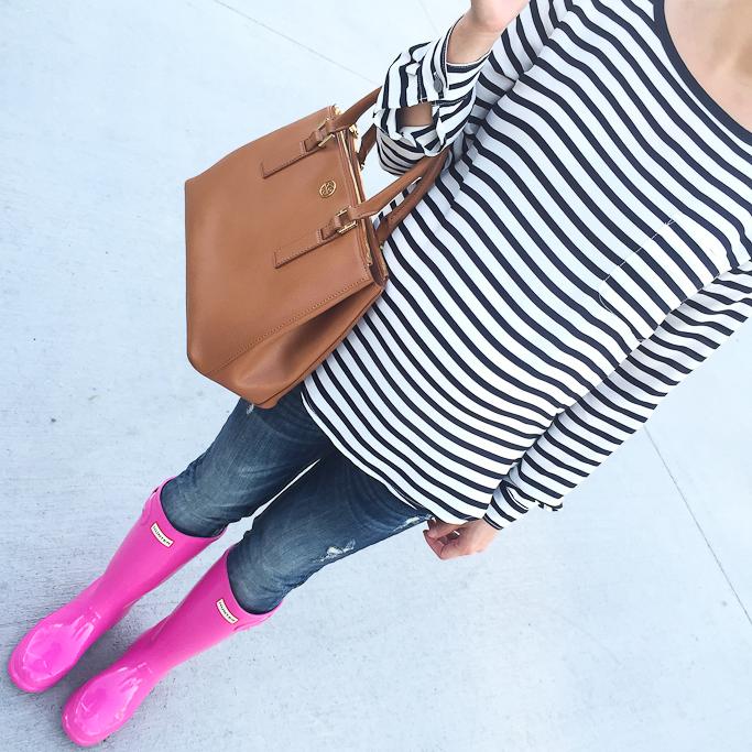 Hunter hot pink boots Loft striped pocket blouse Tory Burch mini Robinson Tote