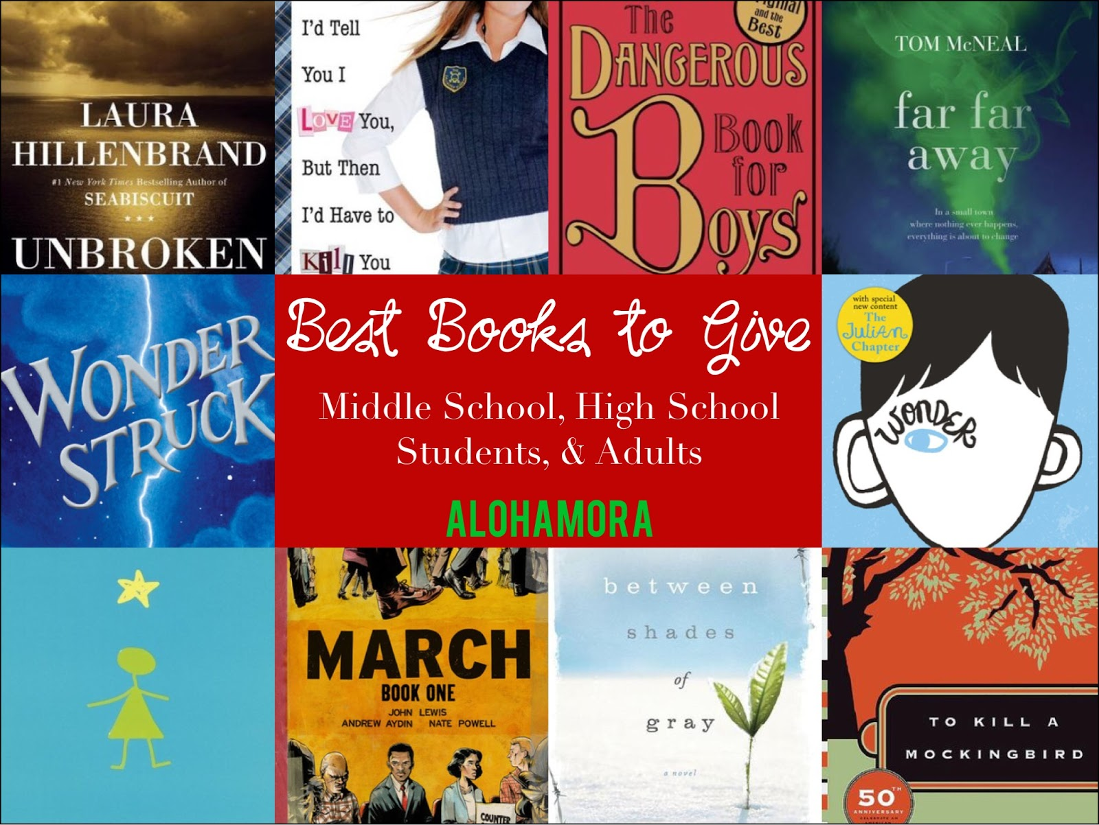 The best books to give middle school kids, high schoolers, teens, YAs and adults.  Non-fiction, fiction, realistic fiction, graphic novels, classics, mysteries, historical fiction, and more found this book list. Alohamora Open a Book http://alohamoraopenabook.blogspot.com/