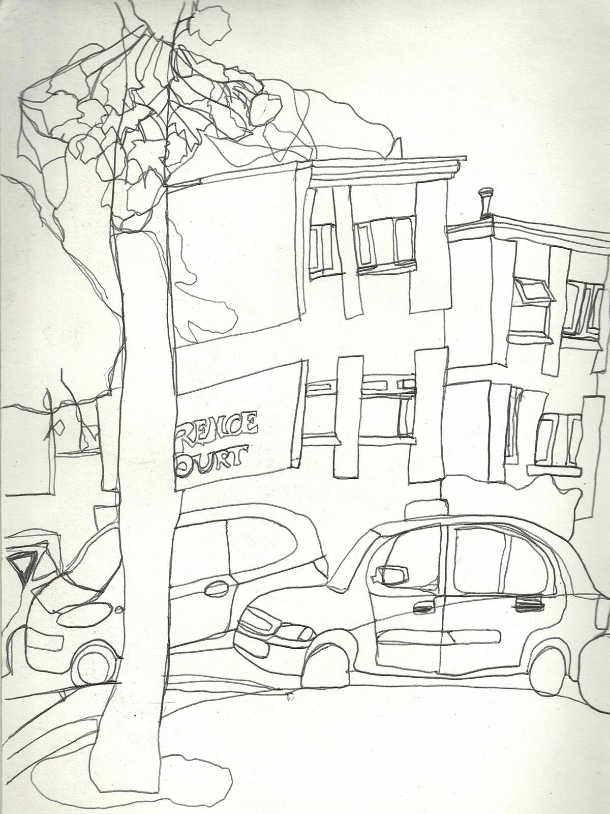 Line Drawing Landscape Artists : Continuous line drawing landscape