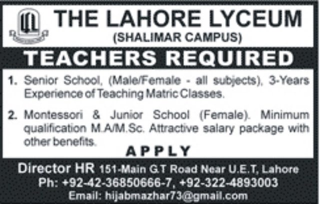 Teachers Jobs in Lahore Lyceum for all Subjects