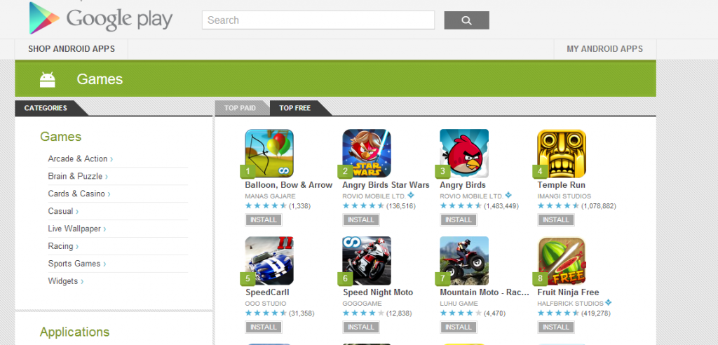 play store free download games for android