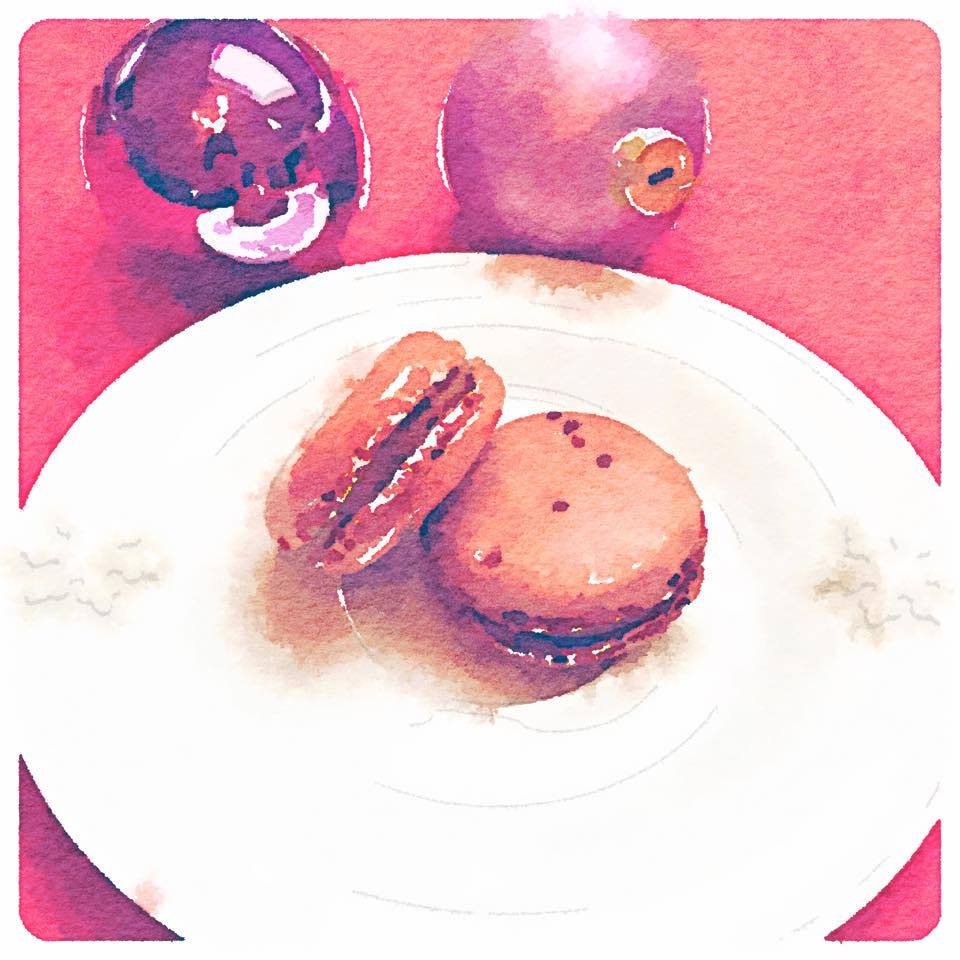 macarons watercolor painting